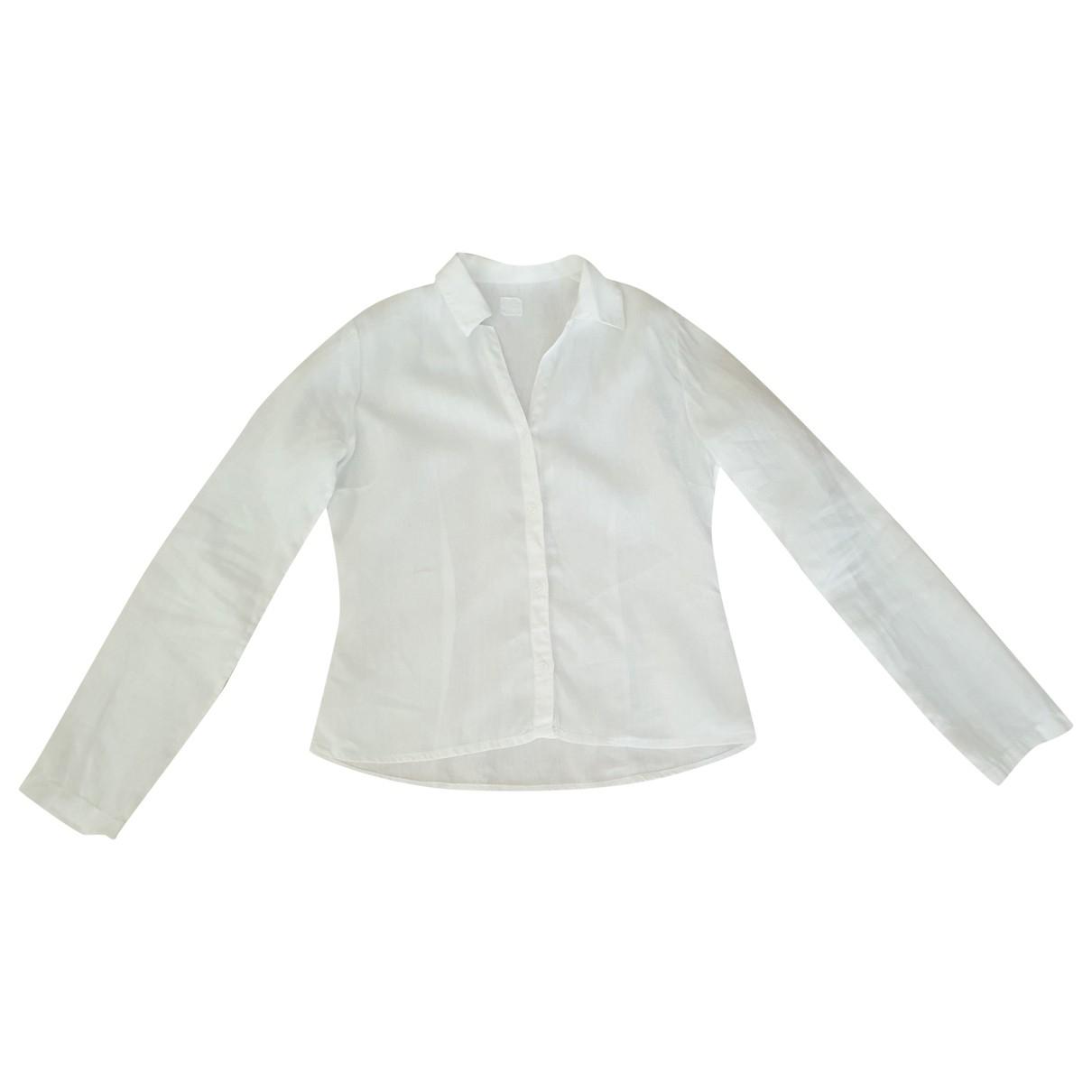 120% Lino - Top   pour femme en lin - blanc