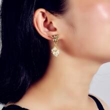 Textured Metal Decor Faux Pearl Drop Earrings