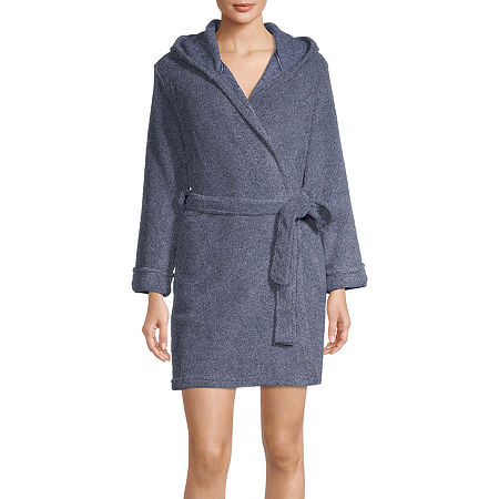 Rene Rofe Womens Fleece Long Sleeve Knee Length Robe, Medium , Blue