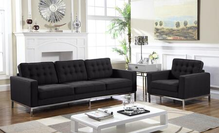 Olson Collection FSA2938ACSET 2 PC Living Room Set with Sofa and Club Chair in Black