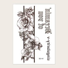 Floral & Letter Graphic Tattoo Sticker