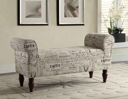 36030LIN-01-KD-U Lillian Collection Bench with Hardwood Frame and Linen Upholstery in Script