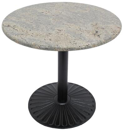 G208 48 RD-Z14-28D 48Round Kashmir White Granite Tabletop with 28 Round Sun Beam Black Semi-Gloss Dining Height Table