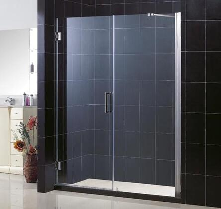 SHDR-20587210-01 Unidoor 58-59 In. W X 72 In. H Frameless Hinged Shower Door With Support Arm In
