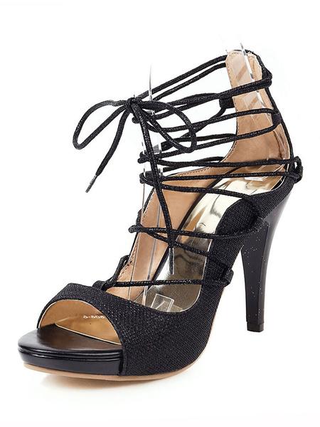 Milanoo Zapatos de tacon alto con cordones de las mujeres Peep Toe Pumps Tacon de aguja Zapatos de talla grande