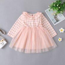 Baby Girl Checkerboard Print Contrast Mesh Dress