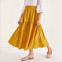 Girls Ruffle Hem Solid Skirt