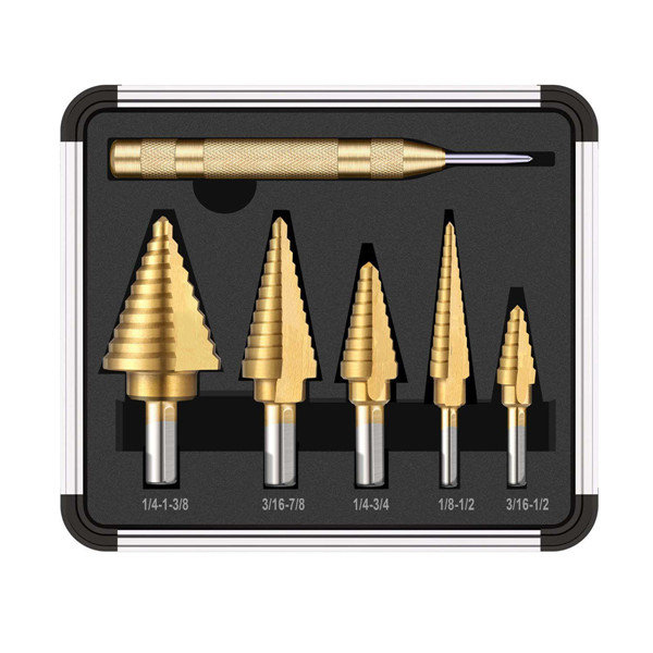6pcs HSS Titanium Coated Step Drill With Center Punch Drill Set Hole Cutter Drilling Tool