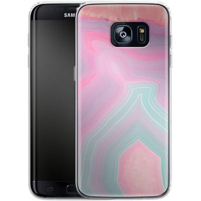 Samsung Galaxy S7 Edge Silikon Handyhuelle - Pastel Agate von Emanuela Carratoni