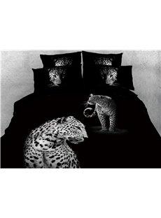 African Leopard Printed Black 4-Piece 3D Bedding Sets/Duvet Covers