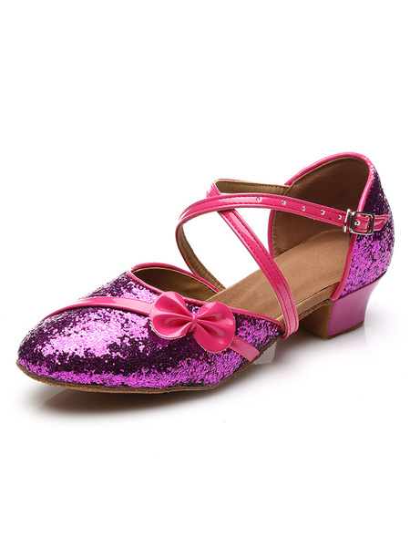Milanoo Kids Dance Shoes Glitter Round Toe Bow Criss Cross Latin Dancing Shoes Ballroom Dance Shoes
