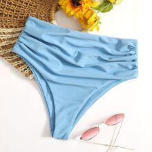 Bikini Hoschen mit Ruesche und hoher Taille