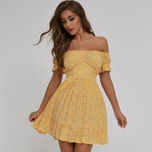 Schulterfreies Kleid mit Band hinten, Raffungsaum und Bluemchen Muster