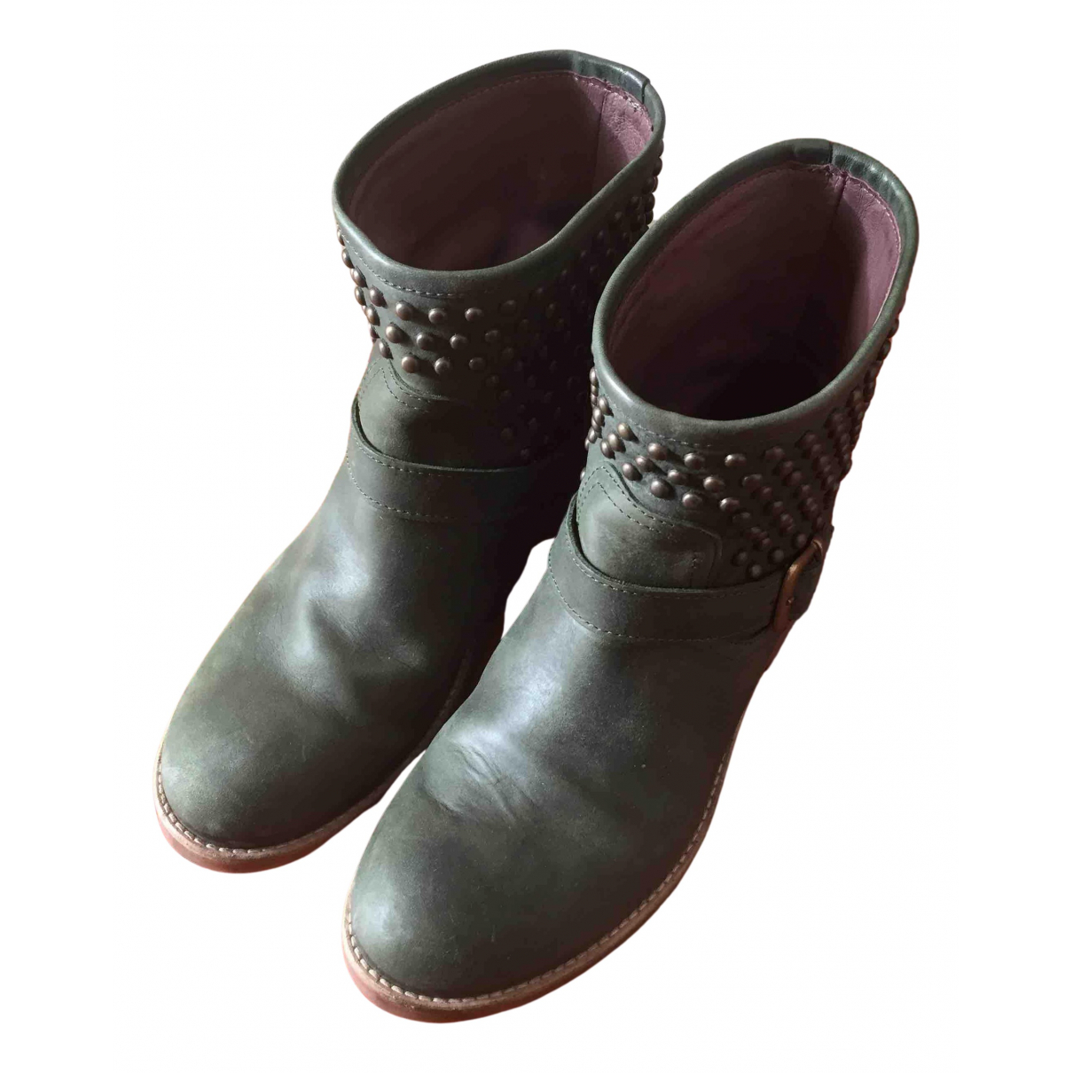 Twin Set N Khaki Leather Ankle boots for Women 39 EU