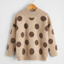 Girls Polka Dot Drop Shoulder Sweater