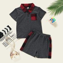 Polo Shirt mit Kontrast Karo Muster & Shorts