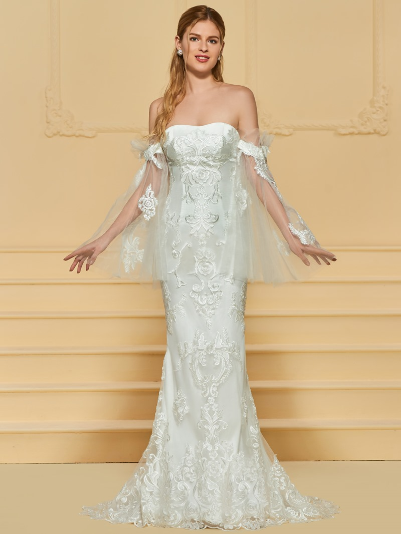 Ericdress Off the Shoulder Mermaid Wedding Dress with Sleeve