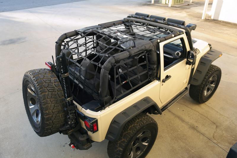 This black Cargo Net from Rugged Ridge 13552.7 fits 07-18 Jeep 2-door Wrangler. Jeep Wrangler 2007-2016