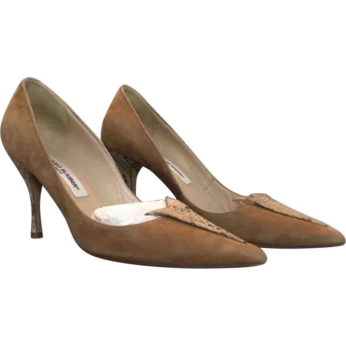 Manolo Blahnik \N Camel Suede Heels for Women 38.5 EU