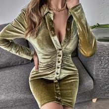 Vestidos Drapeado Liso Casual