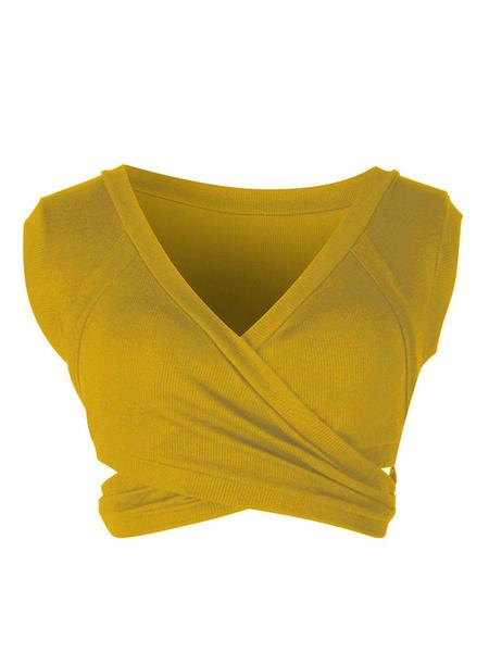 Milanoo Yellow Cami Top V-Neck Sexy Cotton Blend Women Camis