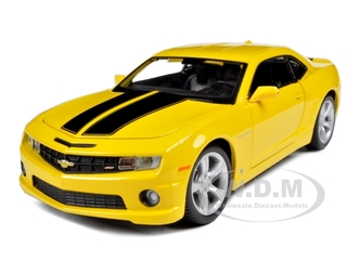 2010 Chevrolet Camaro RS SS Yellow with Black Stripes 1/24 Diecast Model Car by Maisto