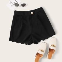Schwarz Knopfe  Einfarbig Laessig Shorts