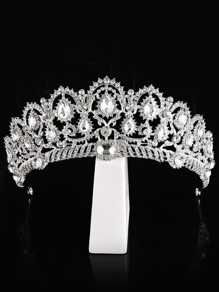 Milanoo Wedding Tiara Silver Princess Crown Bridal Headpieces Rhinestones Royal Hair Accessories