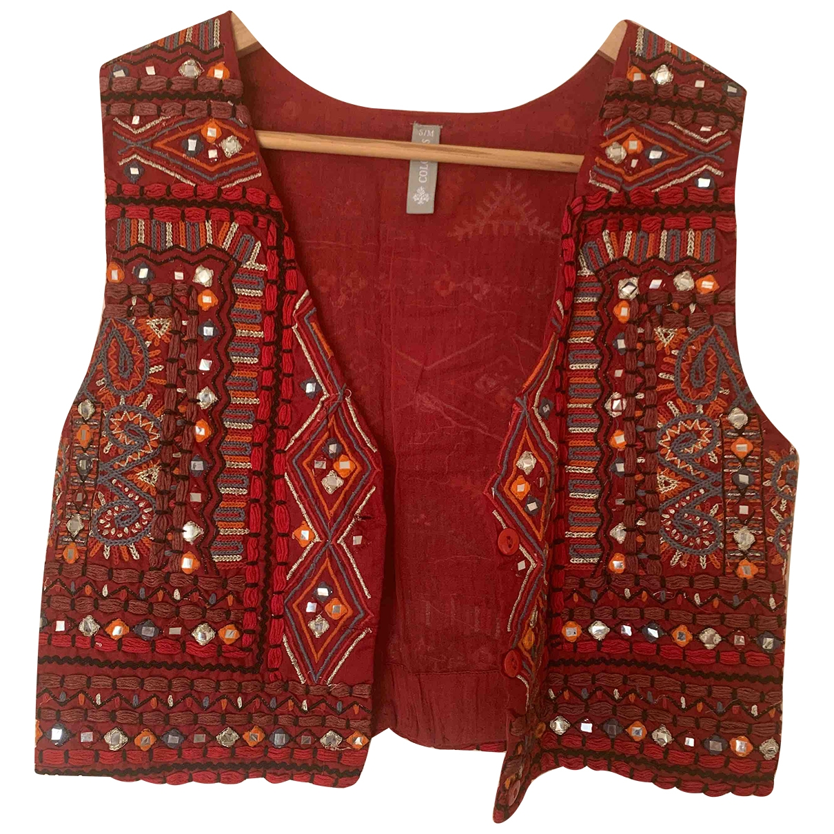 Non Signe / Unsigned Hippie Chic Jacke in  Rot Baumwolle