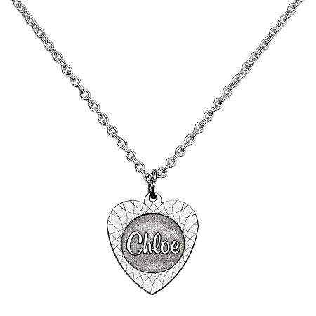 Personalized Heart Name Pendant Necklace, One Size , White