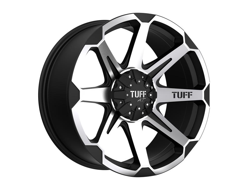 TUFF T05 Wheel 22x10 5x114.30|5x4.5|5x127 -20mm Flat Black w/ Machined Face