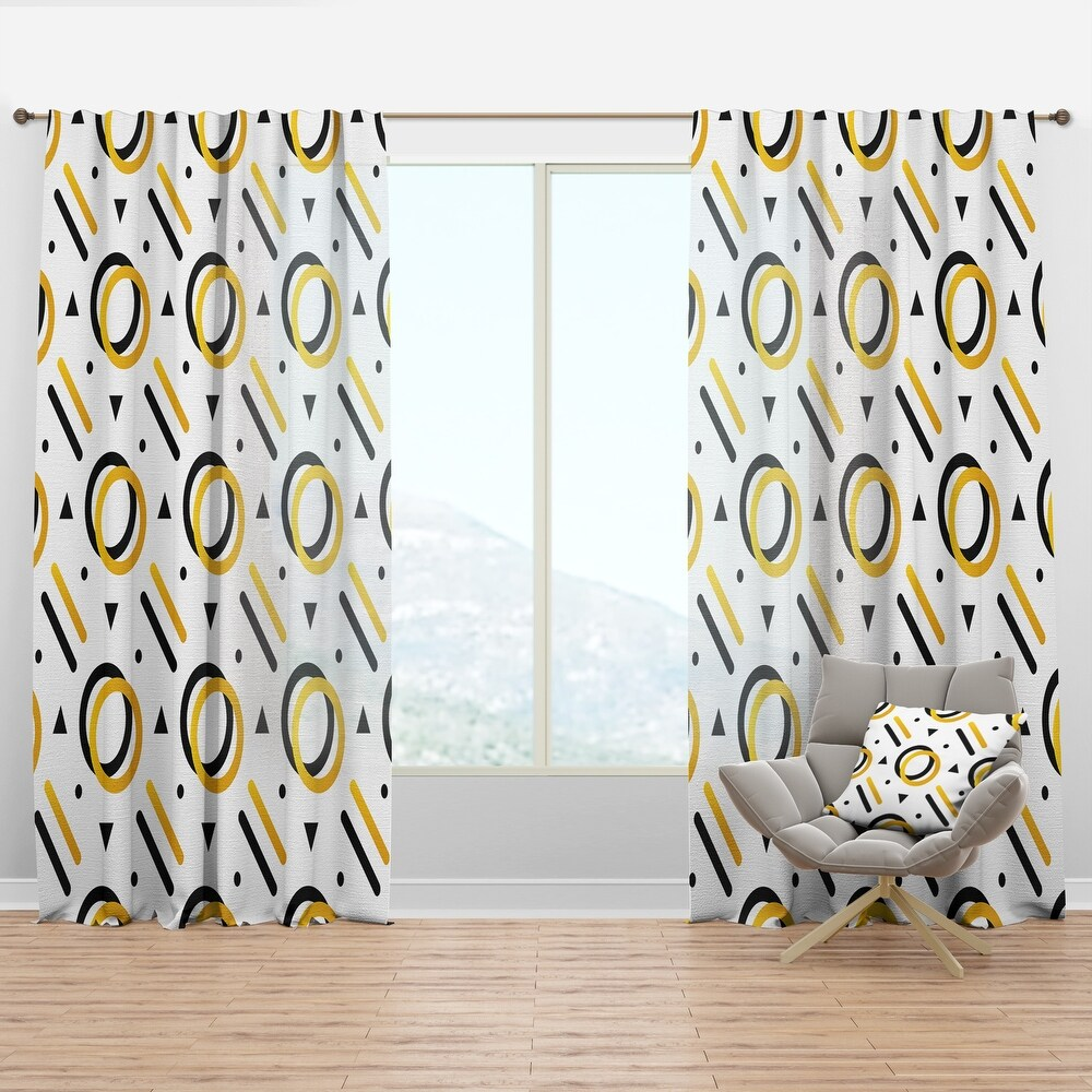 Designart 'Trendy Black And Gold Triangular Pattern I' Mid-Century Modern Curtain Panel (50 in. wide x 95 in. high - 1 Panel)