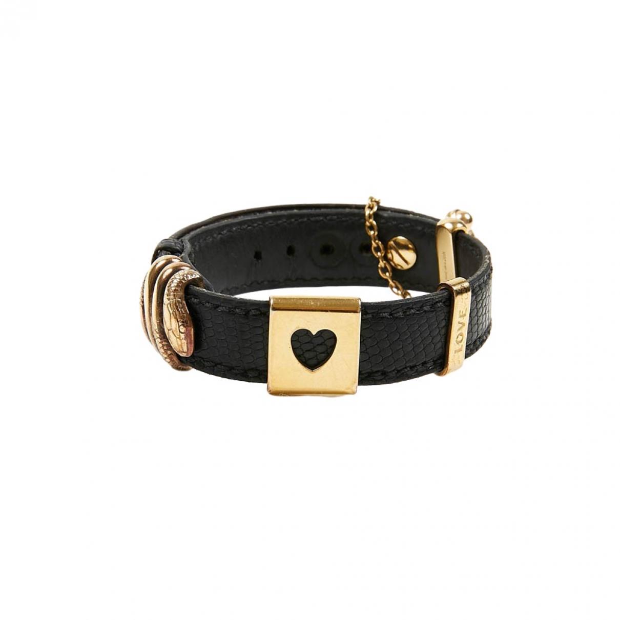 - Bracelet Motifs Coeurs pour femme en cuir - noir