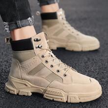Men Lace-up Front Combat Boots