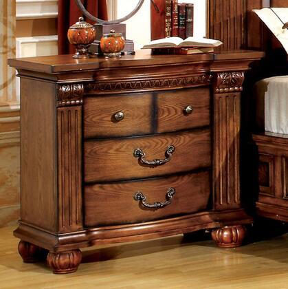 Bellagrand Collection CM7738N Nightstand with 3 French Dovetail Drawers  Solid Wood and Wood Veneers Construction in Antique Tobacco Oak