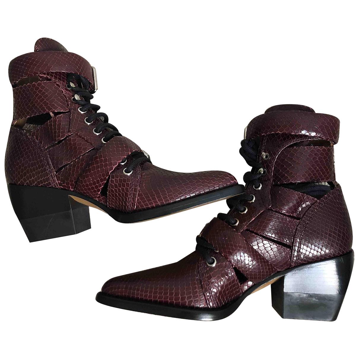 Chloe - Boots Rylee pour femme en cuir - bordeaux