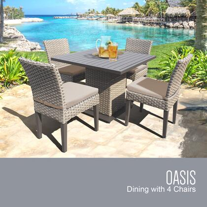OASIS-SQUARE-KIT-4ADCC-WHEAT Oasis Square Dining Table with 4 Chairs with 2 Covers: Grey and