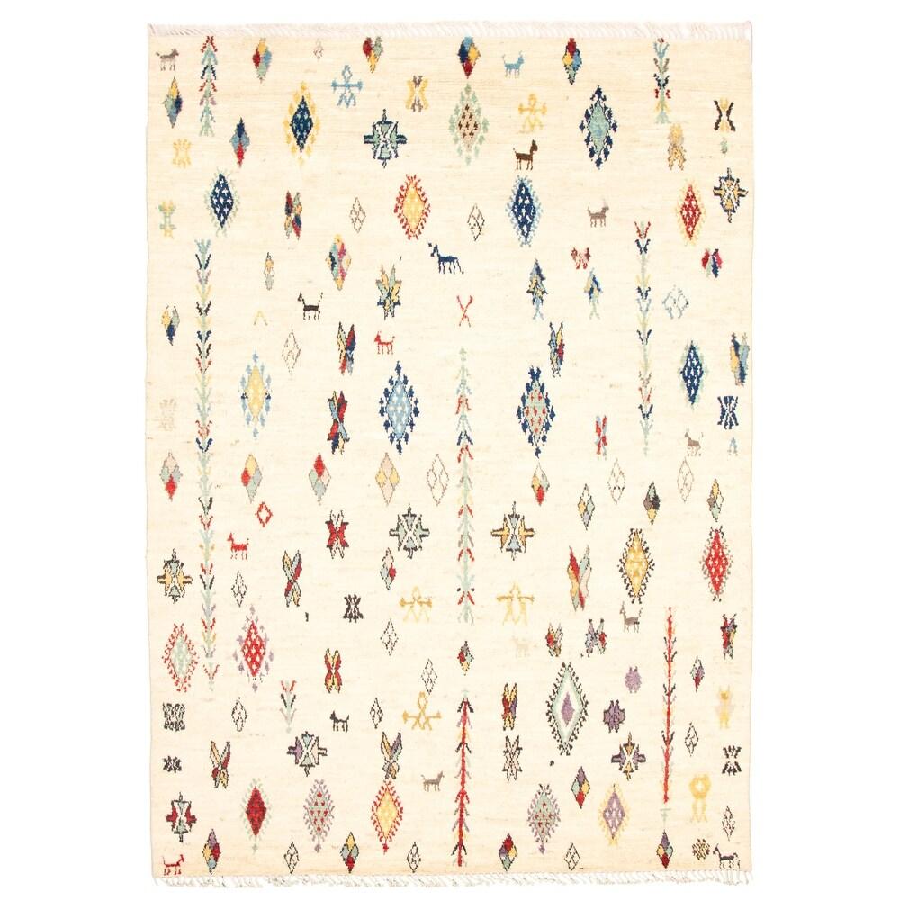 ECARPETGALLERY  Hand-knotted Pak Finest Marrakesh Ivory Wool Rug - 8'8 x 12'3 (Ivory - 8'8 x 12'3)