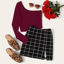 One Shoulder Top & Split Hem Grid Skirt Set