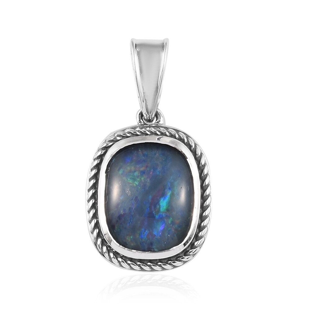 Platinum Over 925 Sterling Silver Opal Triplet Pendant Ct 3.5 (Multi - Opal)