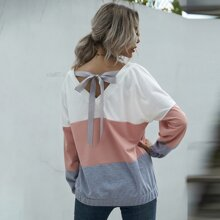 Tie Back Colorblock Batwing Sleeve Sweatshirt