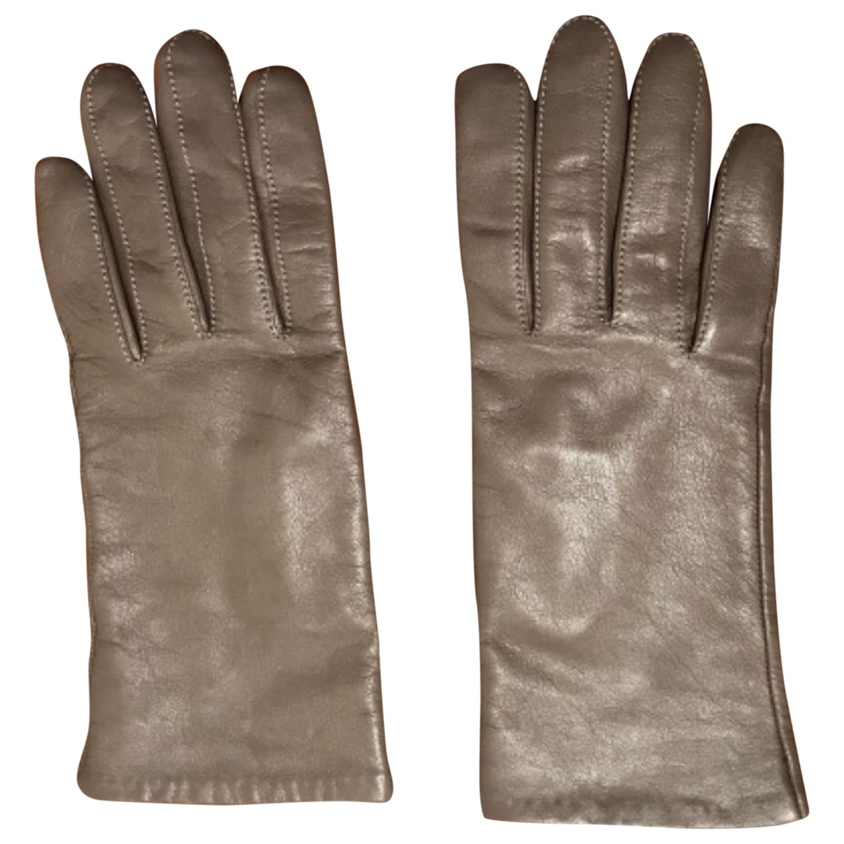 Non Signé / Unsigned \N Anthracite Leather Gloves for Women L International