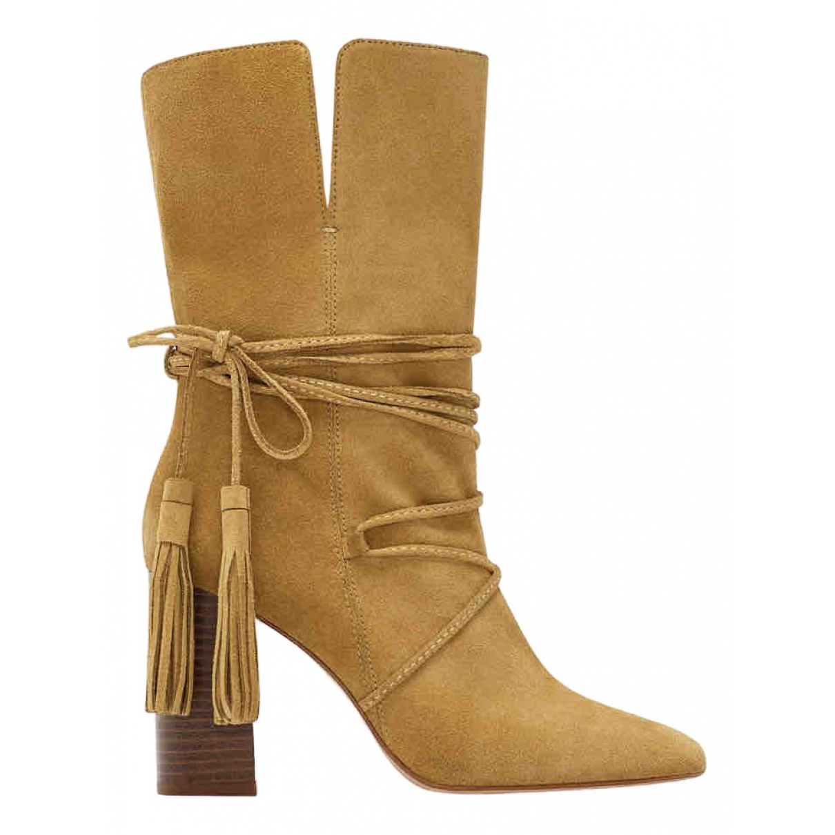 Zara \N Camel Suede Boots for Women 38 EU
