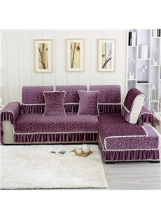 Elegant Purple European Style Plush Quilting Cushion Slip Resistant Sofa Covers