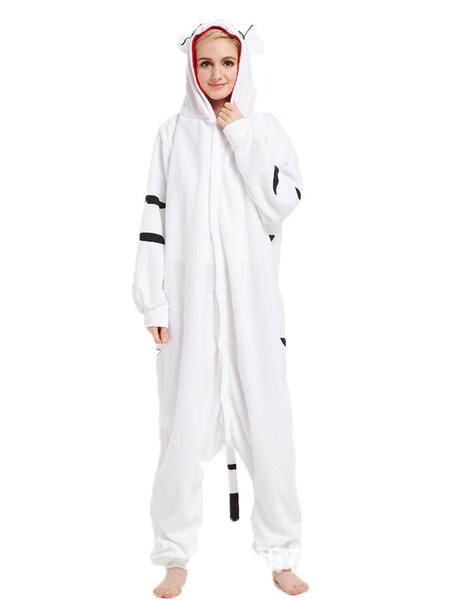 Milanoo Onesie Kigurumi Pajamas White Tiger Flannel for Adult Winter Sleepwear Animal Costume Halloween