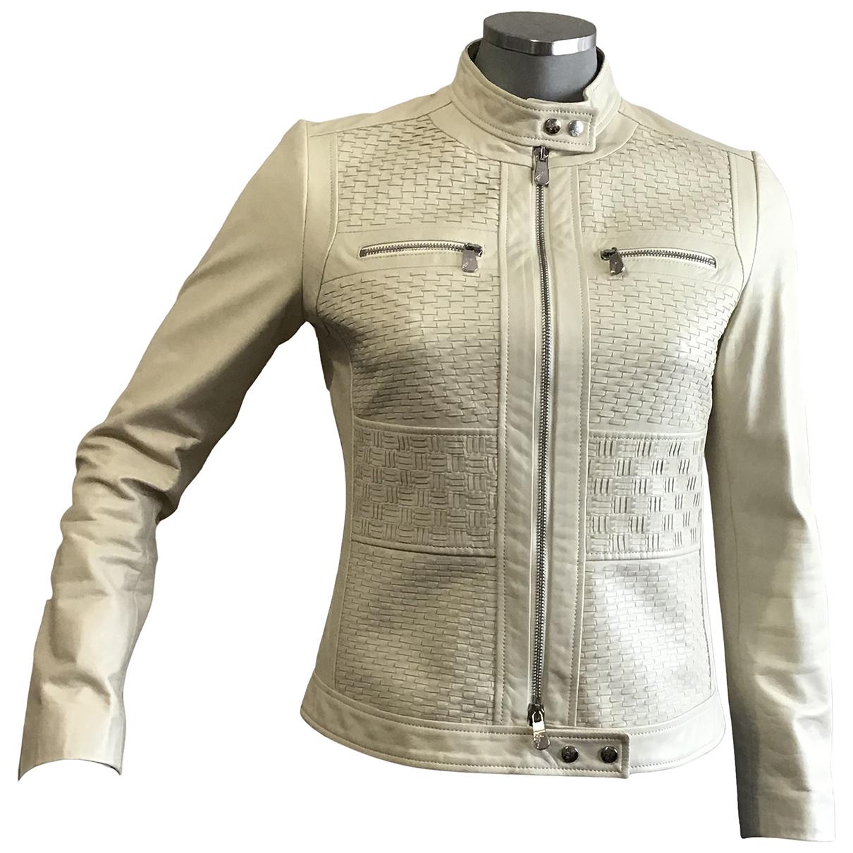 Versace - Blouson   pour femme en cuir - beige