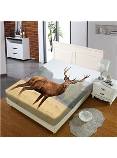 The Elk Looking Back On The Grassland Reactive Printing 1-Piece Polyester Bed Cover / Mattress Cover