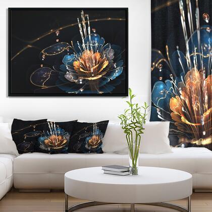 FL8854-42-32-FLB Orange Blue Flower With Water Drops - Floral Art Framed Canvas Print -