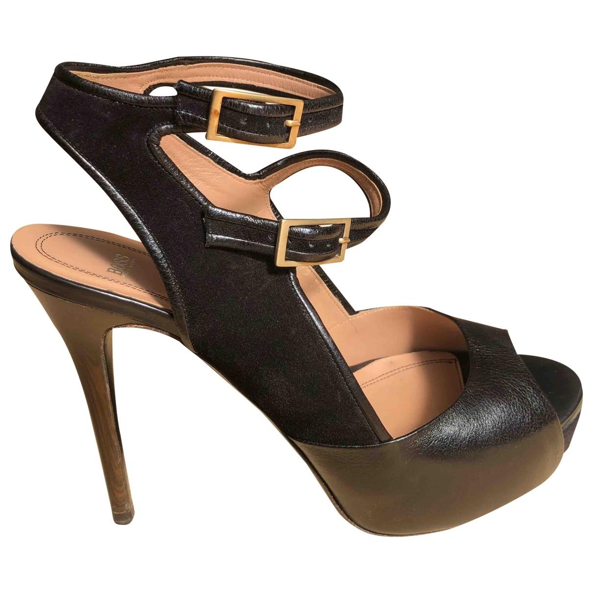 Boss - Sandales   pour femme en cuir - noir