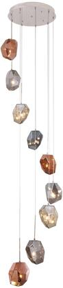 4002D23PN 4002 Gibeon Collection Chandelier D:23In H:8.3In Lt:9 Polished Nickel + Golden Teak & Silver Shade & Copper Shade